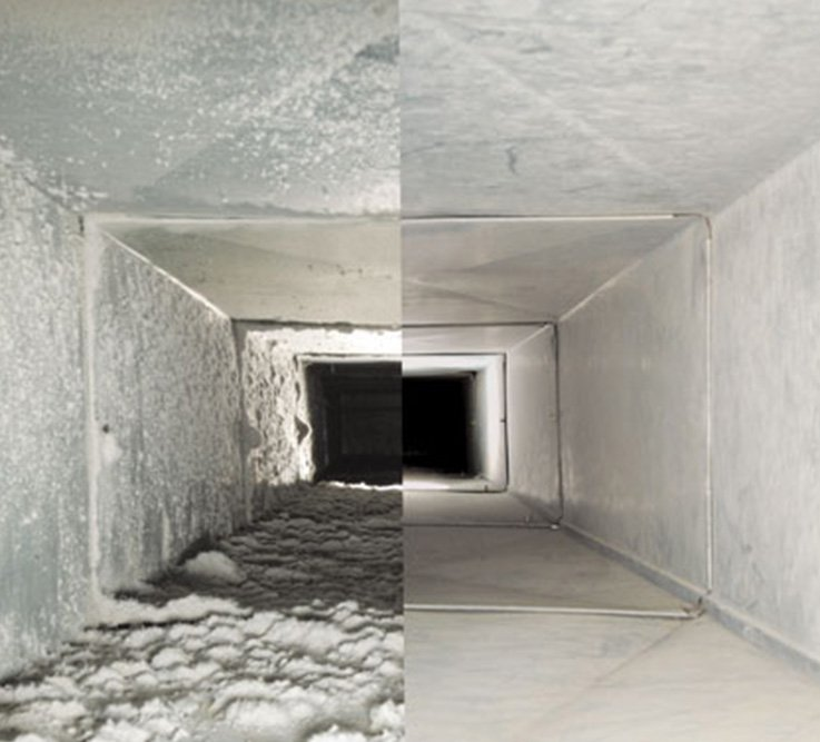 Clean vs dirty comparison of vent